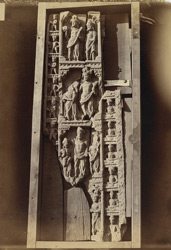Buddhist sculptures from Mir Jan, Peshawar District: an urdhvapatta, divided into four compartments. 10031096